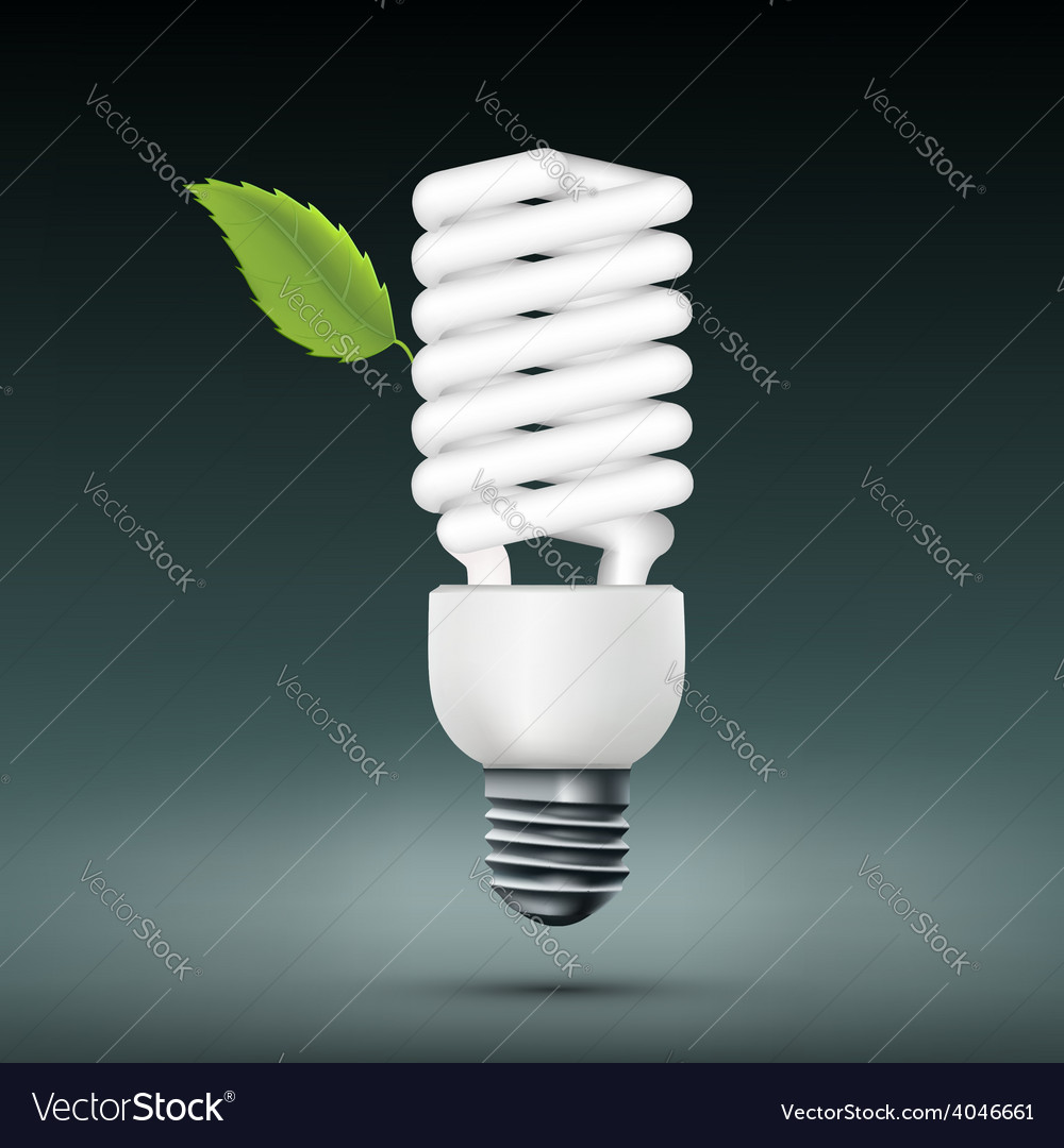 Energy saving lamp with green leaf vector | Price: 1 Credit (USD $1)