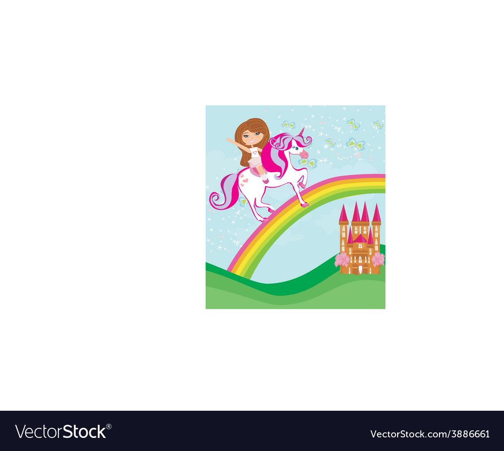 Girl on a unicorn flying on a rainbow vector | Price: 1 Credit (USD $1)