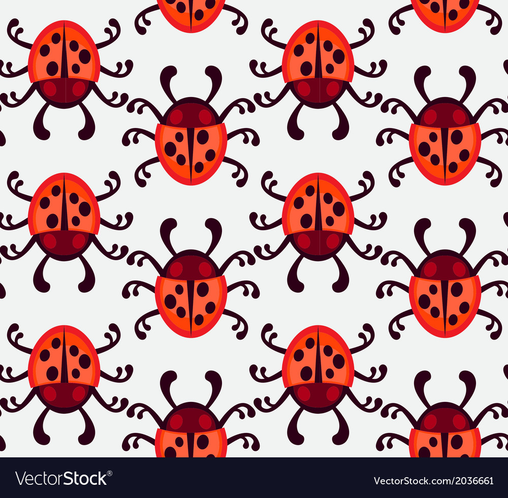 Ladybug seamless pattern vector | Price: 1 Credit (USD $1)