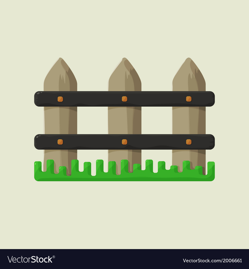 Part of the fence on a farm with green grass vector | Price: 1 Credit (USD $1)