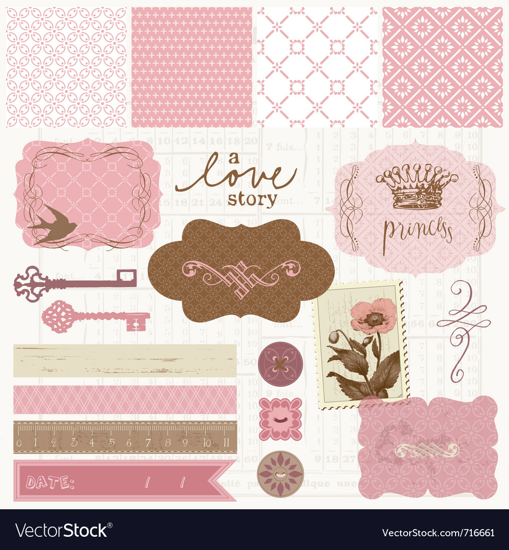 Scrapbook design elements  vintage love set vector
