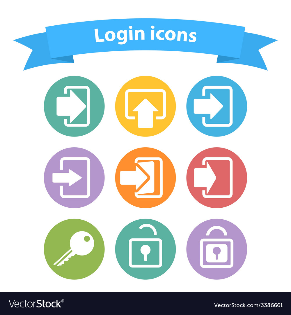 Set of white login icons with vector | Price: 1 Credit (USD $1)