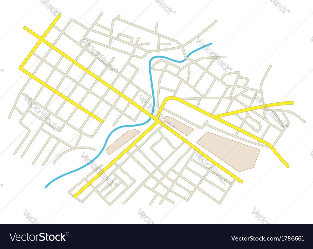 Streets on the city plan vector | Price: 1 Credit (USD $1)