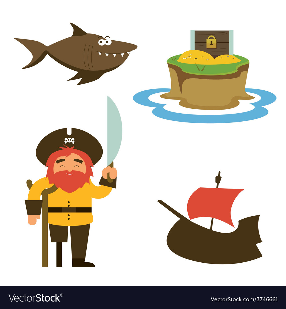 Treasure island characters vector | Price: 1 Credit (USD $1)