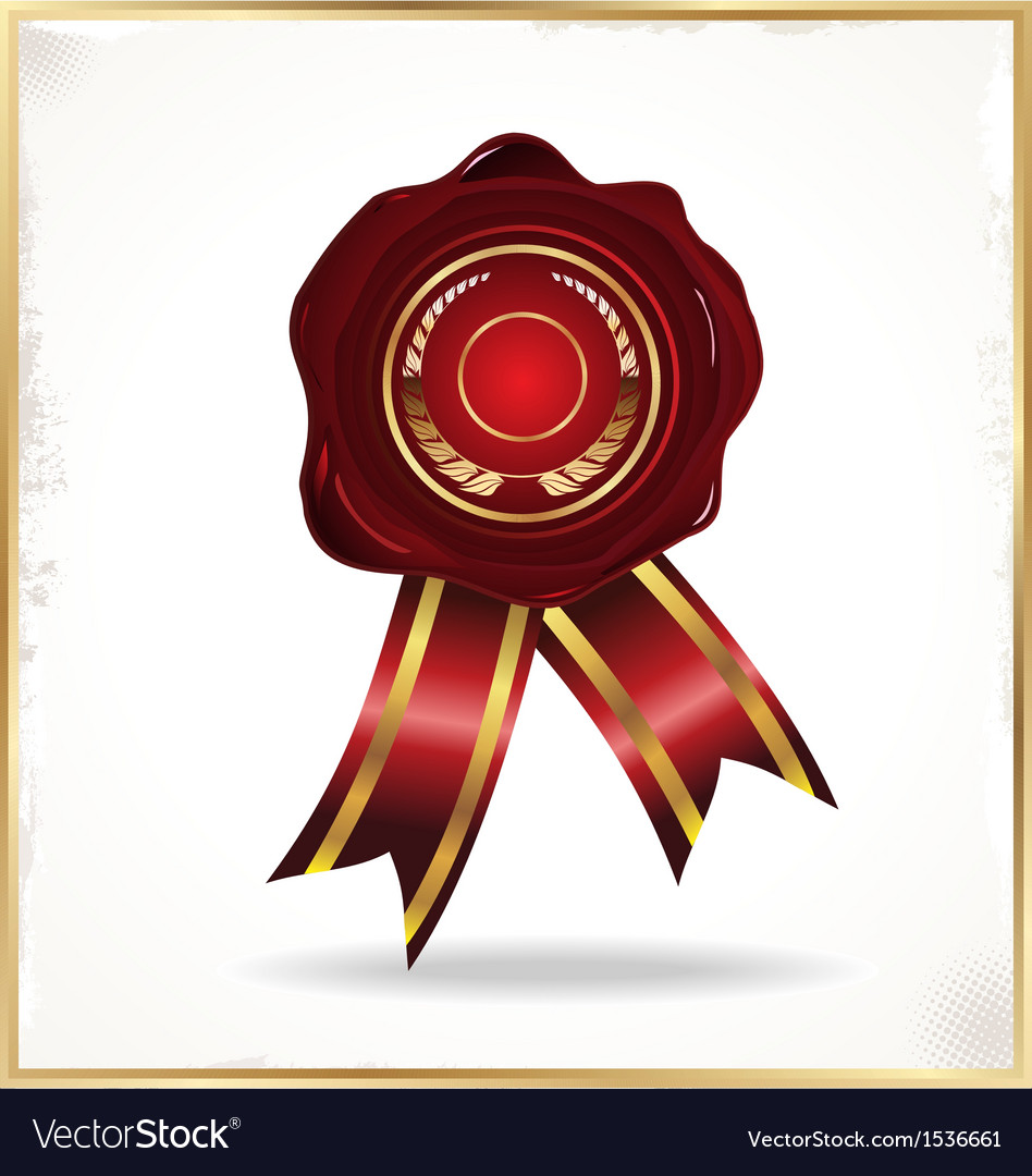 Wax seal with ribbons vector   Price: 1 Credit (USD $1)