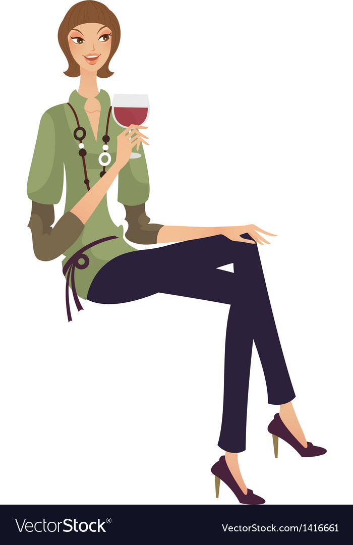 Woman with wine glass vector | Price: 3 Credit (USD $3)