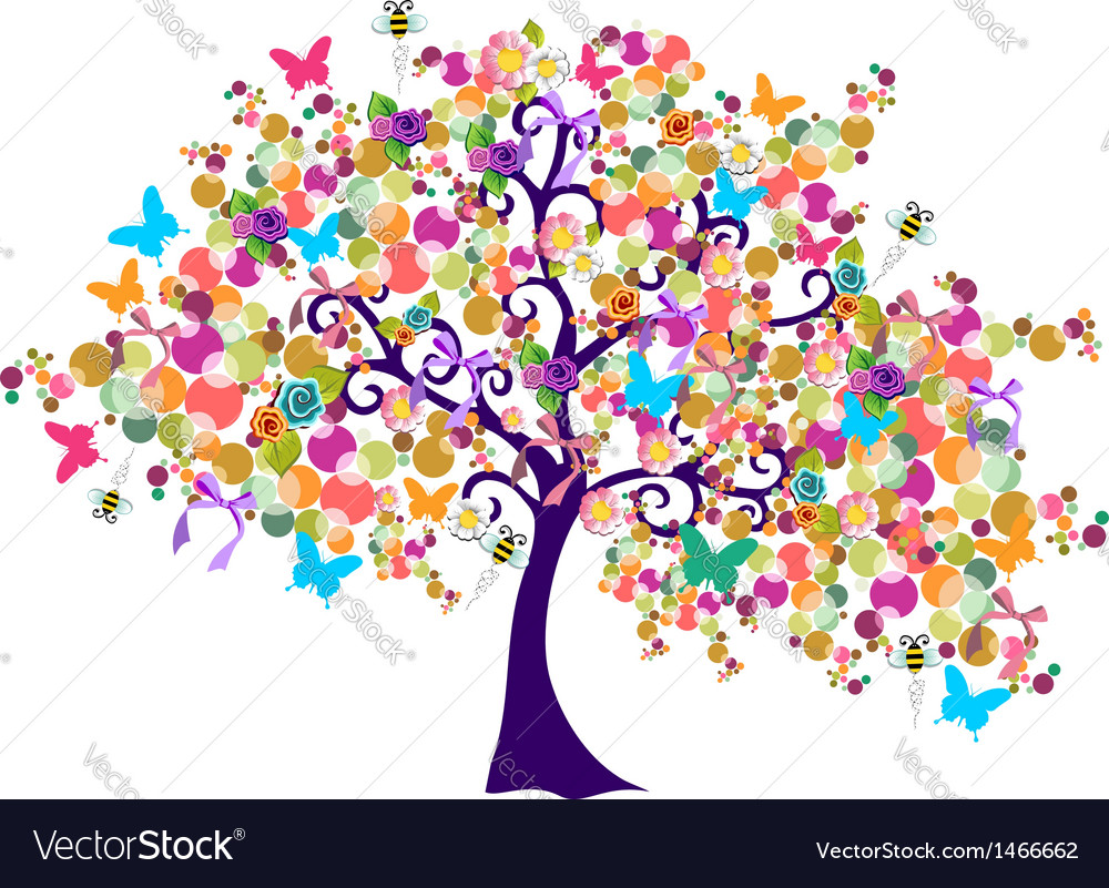 Abstract spring time tree vector | Price: 1 Credit (USD $1)