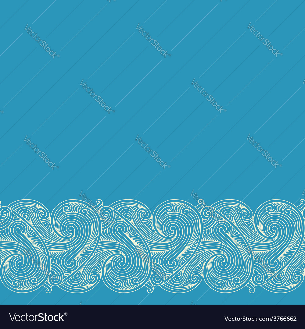 Blue background with horizontal seamless border vector | Price: 1 Credit (USD $1)