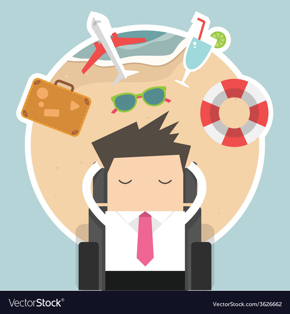 Businessman dreaming about his vacation vector | Price: 1 Credit (USD $1)