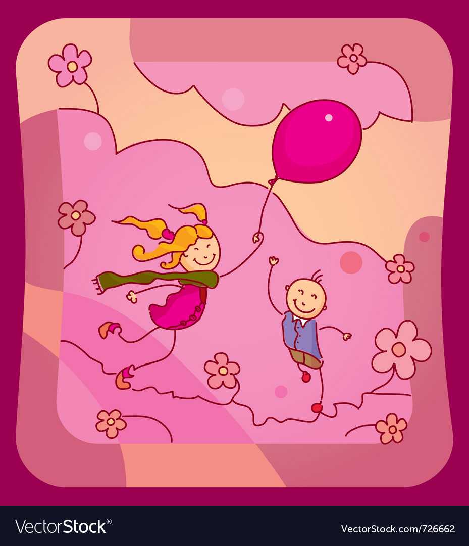 Children with a balloon vector