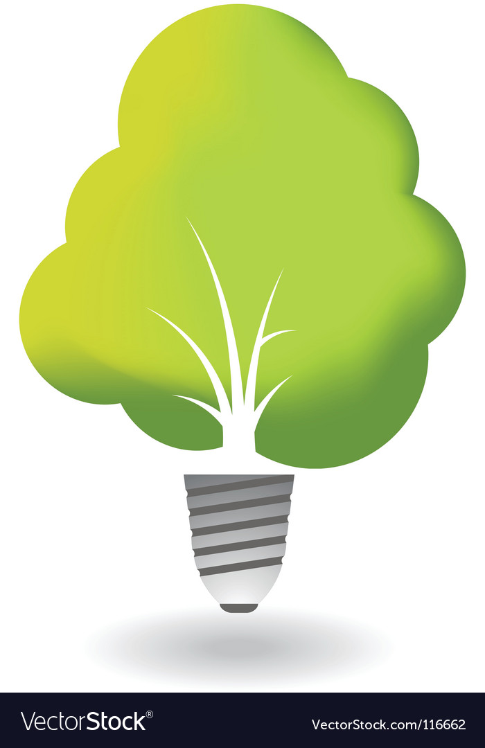 Ecology tree combined with bulb vector | Price: 1 Credit (USD $1)
