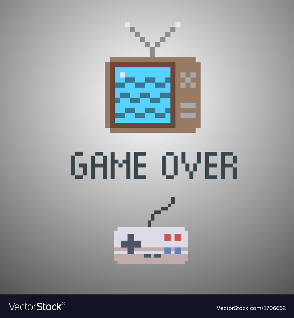 Game over old school 8 bit game poster vector | Price: 1 Credit (USD $1)