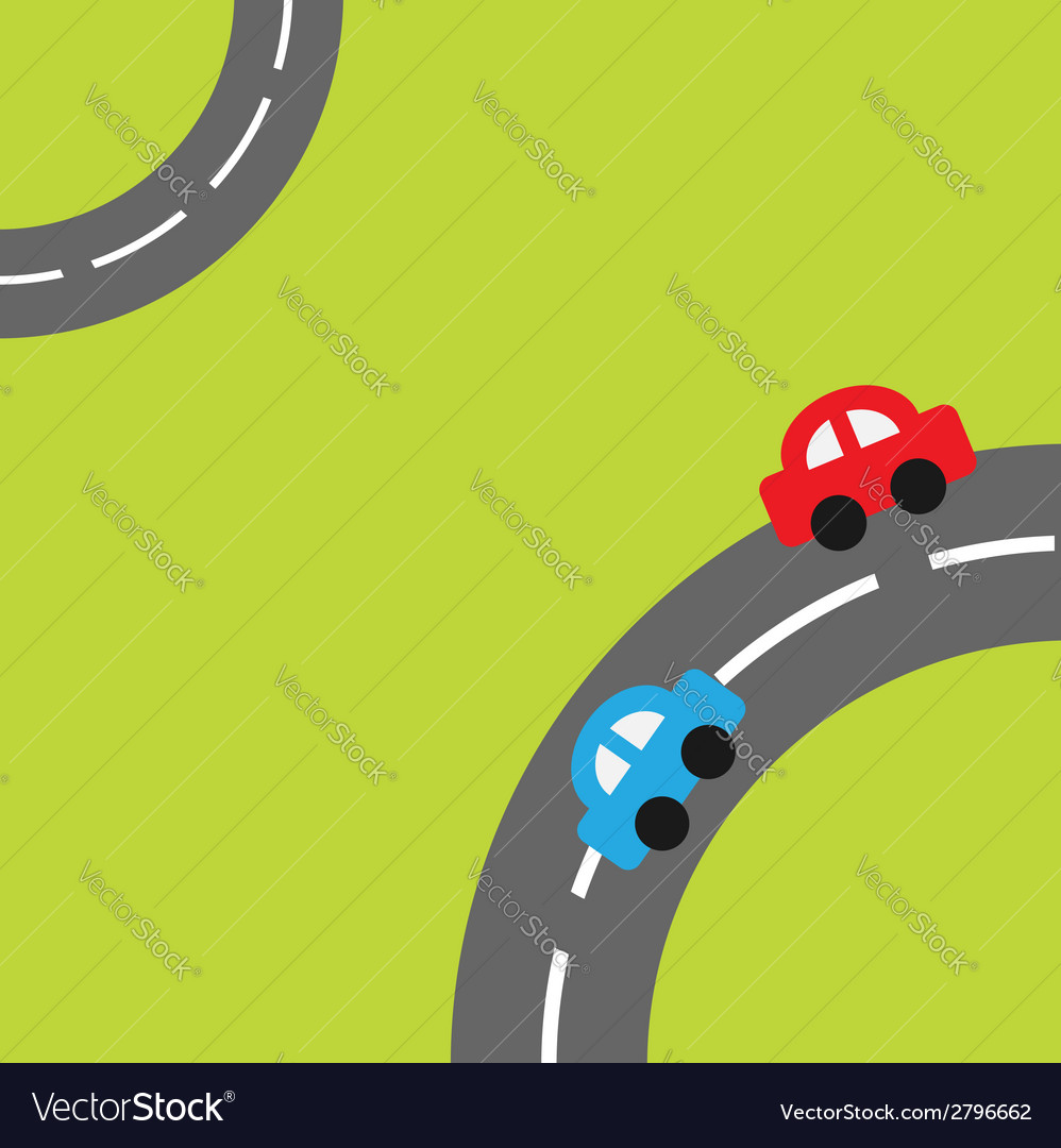 Grass with two roads in the corners cartoon car vector | Price: 1 Credit (USD $1)