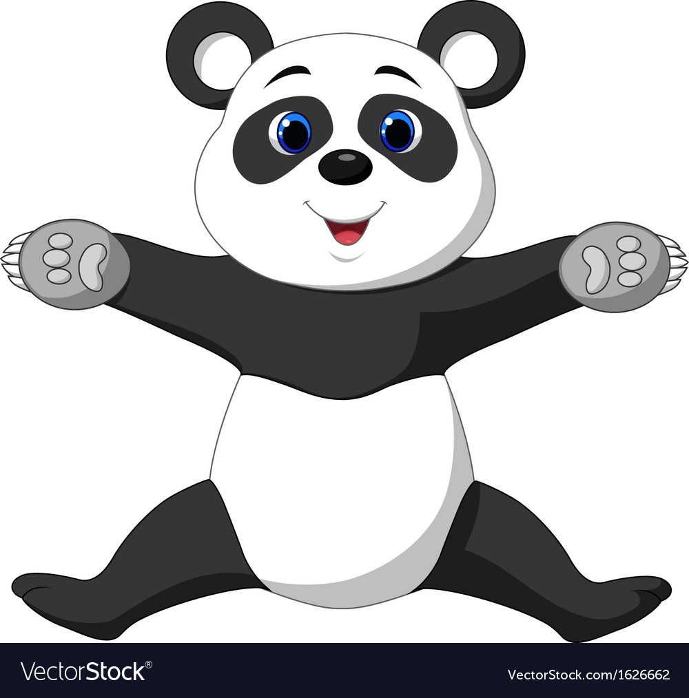 Happy panda cartoon vector | Price: 1 Credit (USD $1)