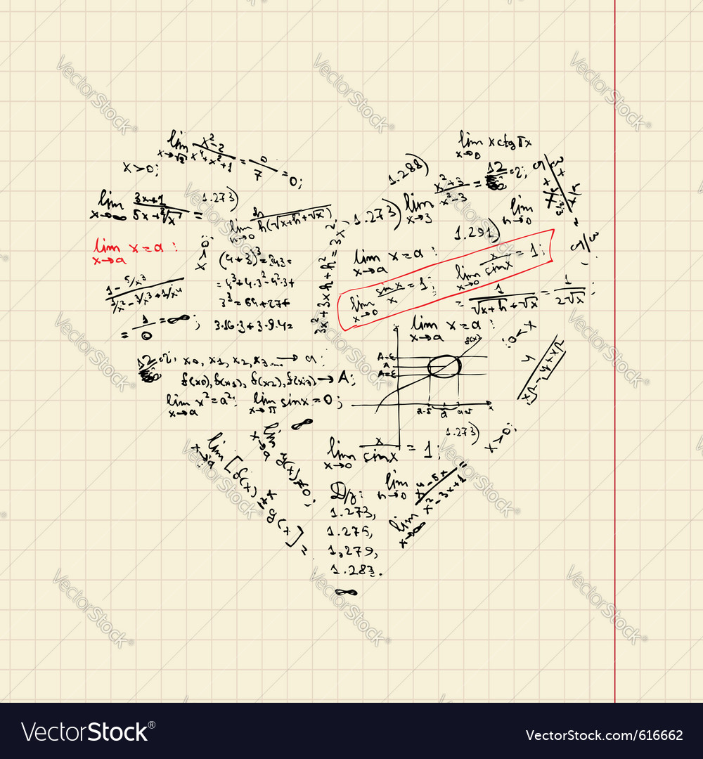 Heart shape with math formulas vector | Price: 1 Credit (USD $1)