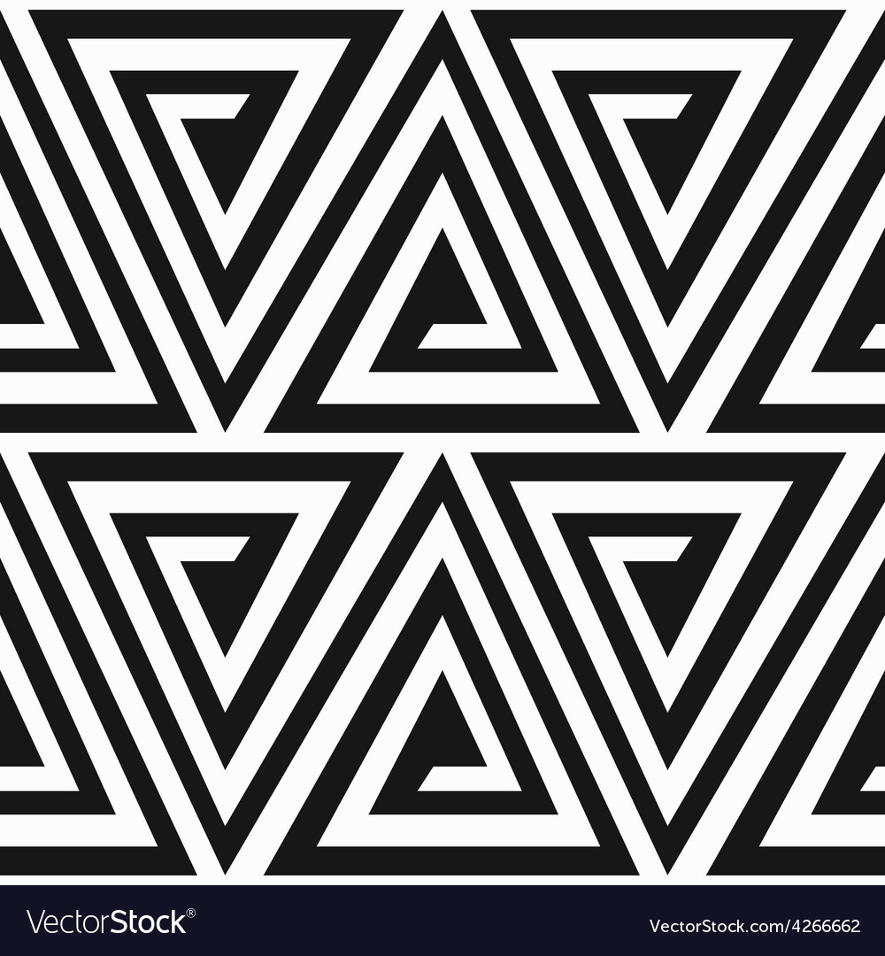 Monochrome ancient triangle spiral seamless vector | Price: 1 Credit (USD $1)