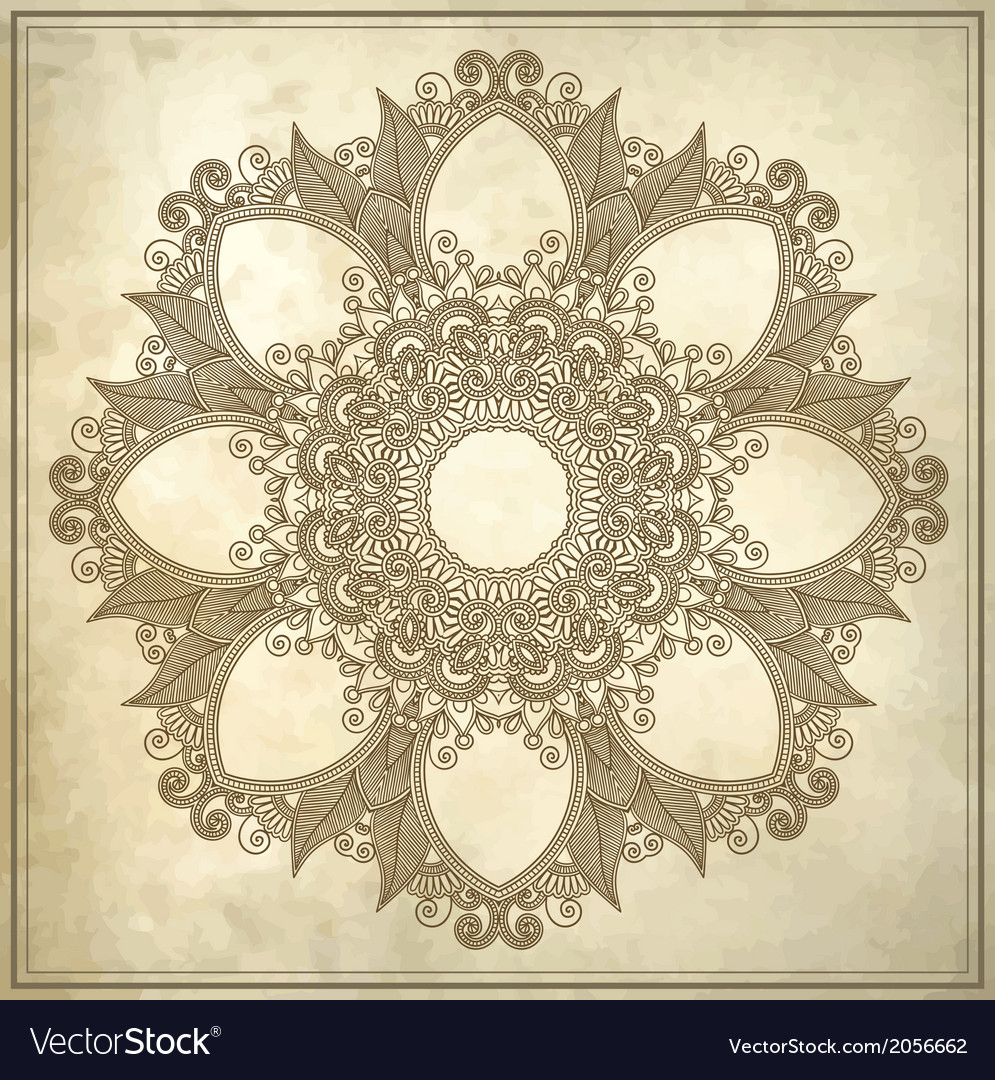 Ornamental circle floral pattern in grunge backgro vector | Price: 1 Credit (USD $1)