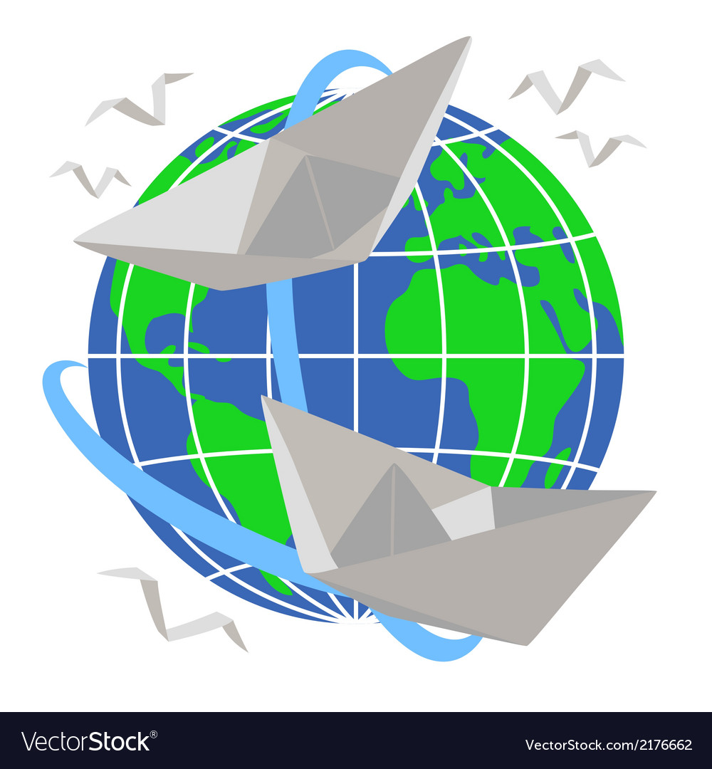 Paper boats sail around the planet earth vector | Price: 1 Credit (USD $1)