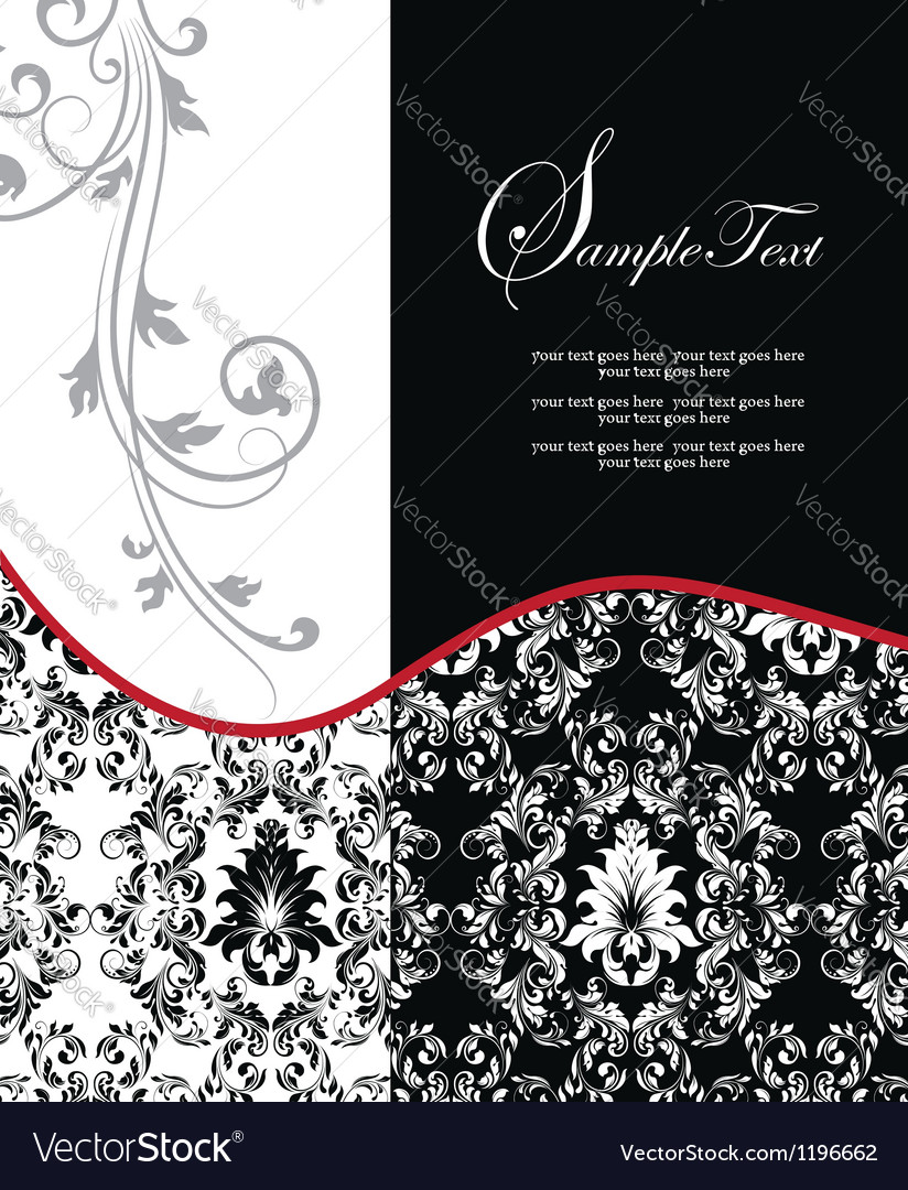 Red elegant damask wedding invitation vector | Price: 1 Credit (USD $1)