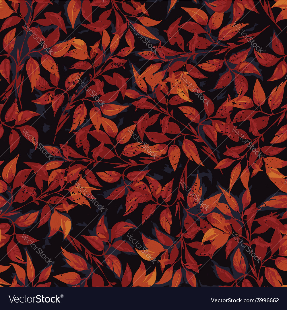 Seamless floral pattern with red ficus leaves vector | Price: 1 Credit (USD $1)