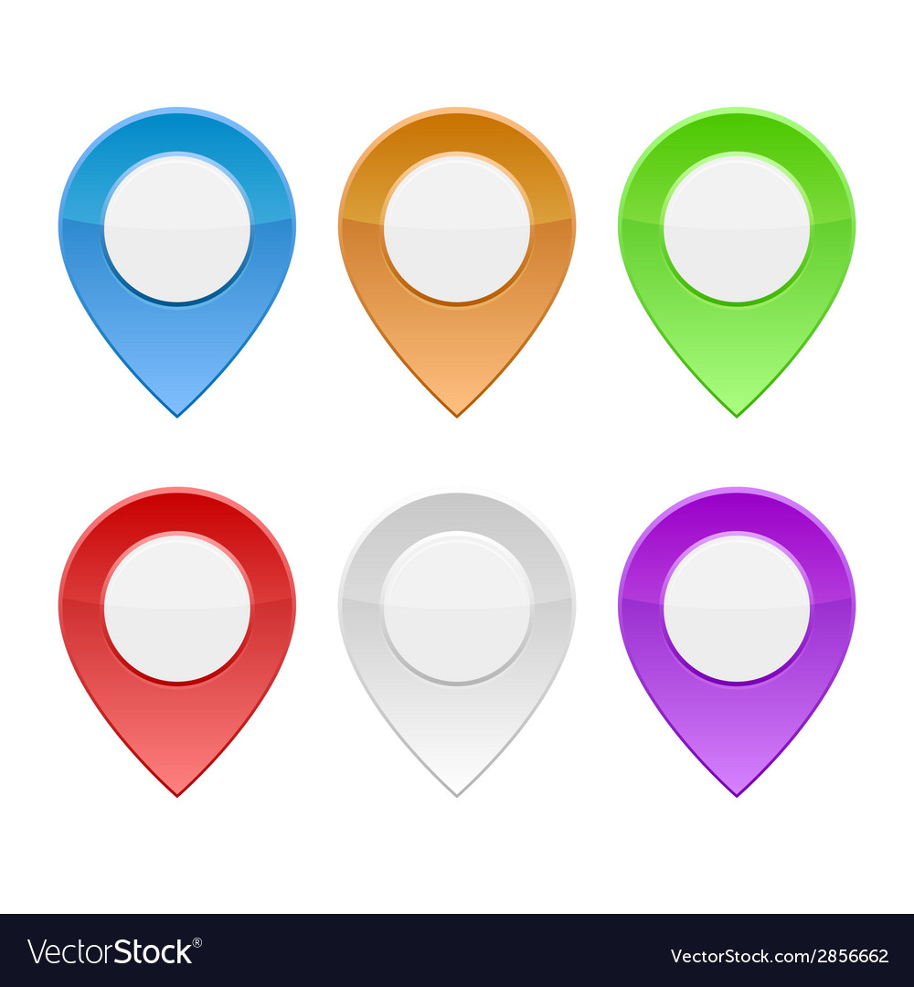 Set of color map pointers on white background vector | Price: 1 Credit (USD $1)