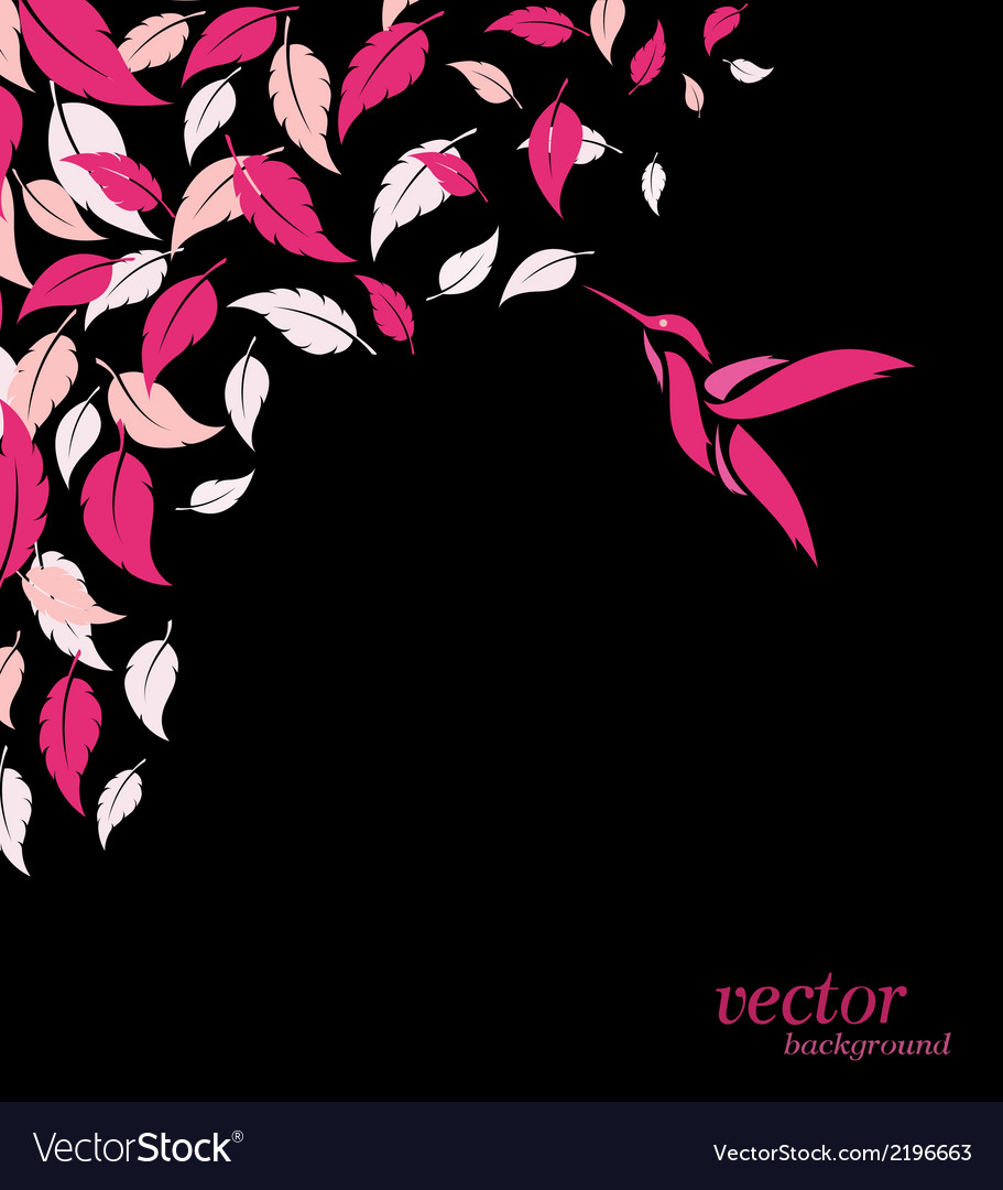 Abstract pink leaf and hummingbirds background vector | Price: 1 Credit (USD $1)
