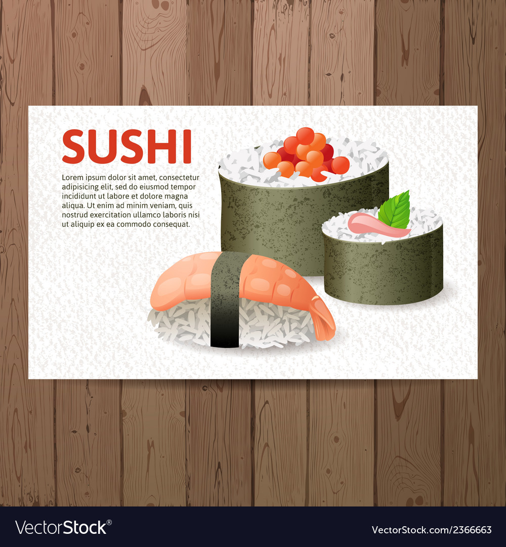 Advertising sushi card vector | Price: 1 Credit (USD $1)