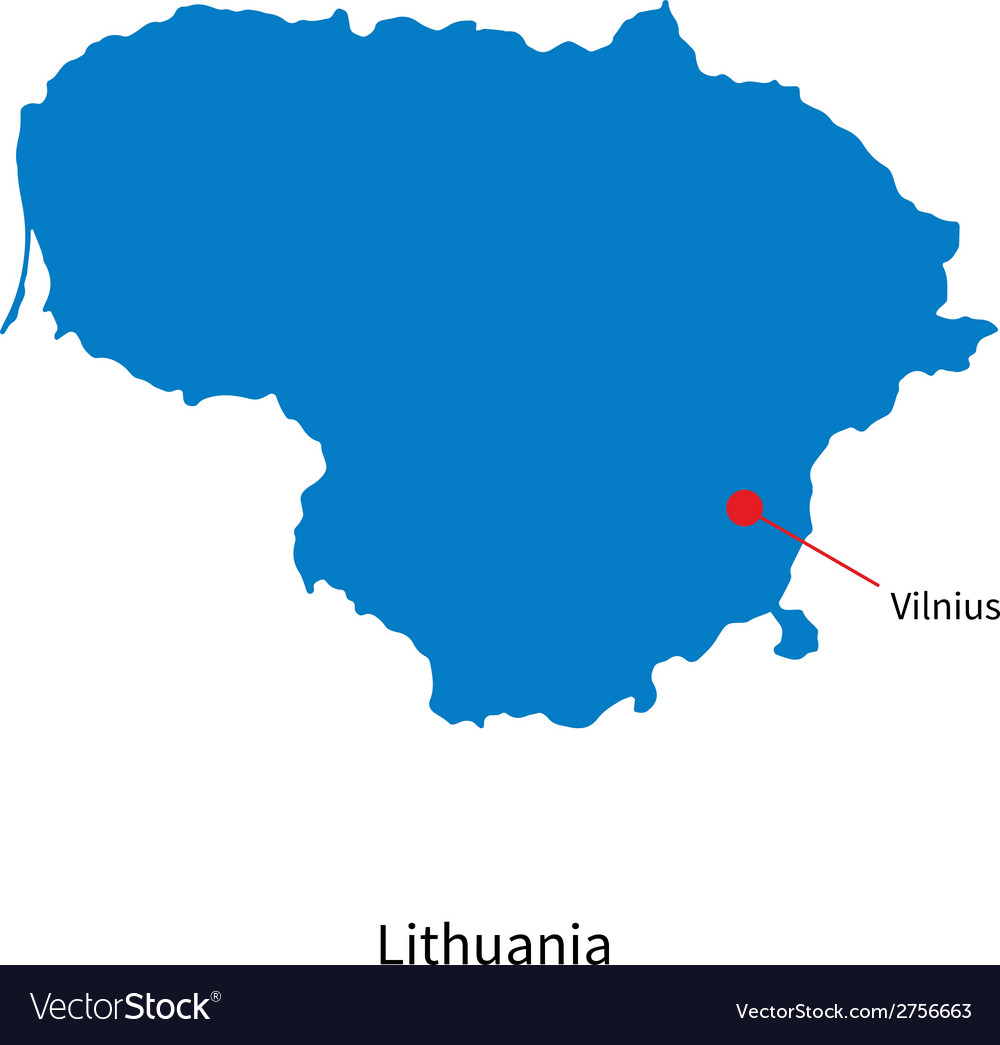 Detailed map of lithuania and capital city vilnius vector | Price: 1 Credit (USD $1)