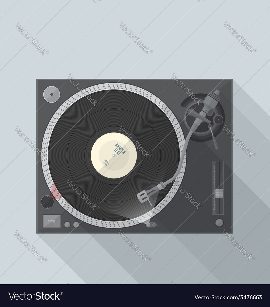 Flat style turntable with vinyl record in work vector | Price: 1 Credit (USD $1)