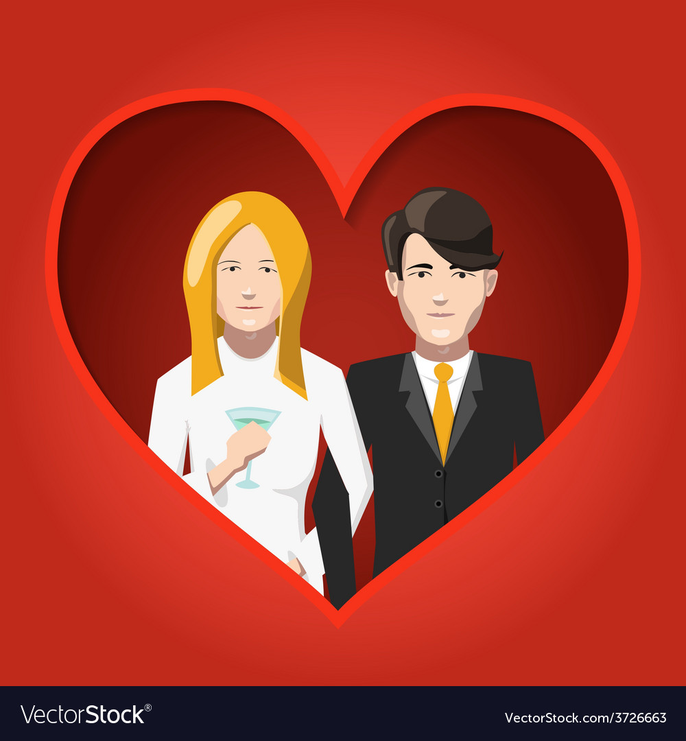 Happy bride and groom in love flat vector | Price: 1 Credit (USD $1)