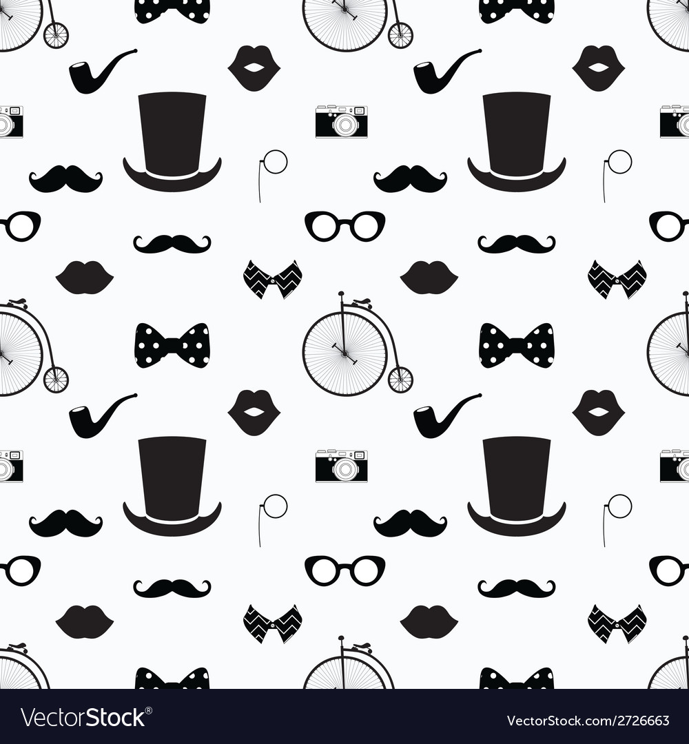 Hipster black and white seamless pattern vector | Price: 1 Credit (USD $1)