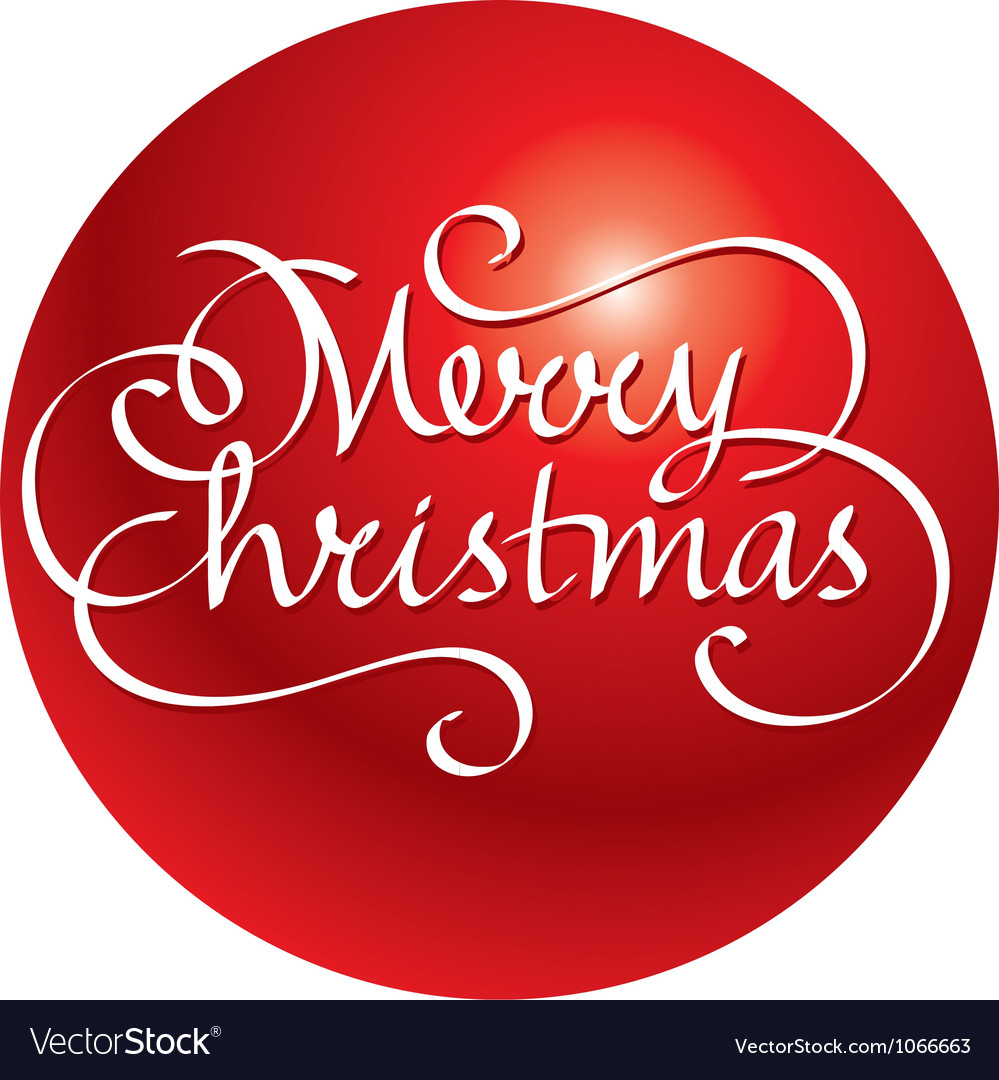 Merry christmas hand lettering and ball vector | Price: 1 Credit (USD $1)