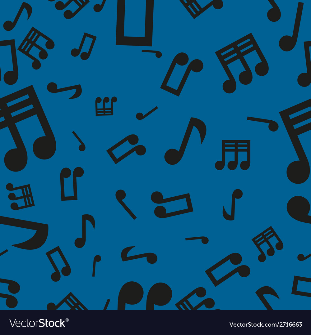 Musical notes seamless pattern blue vector | Price: 1 Credit (USD $1)