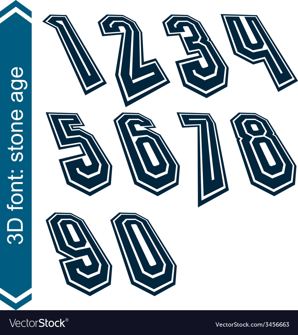 Rotated smooth dimensional numbers geometric vector | Price: 1 Credit (USD $1)