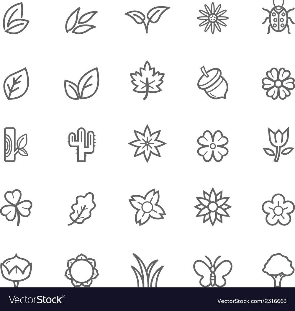 Set of outline stroke natural icons vector | Price: 1 Credit (USD $1)