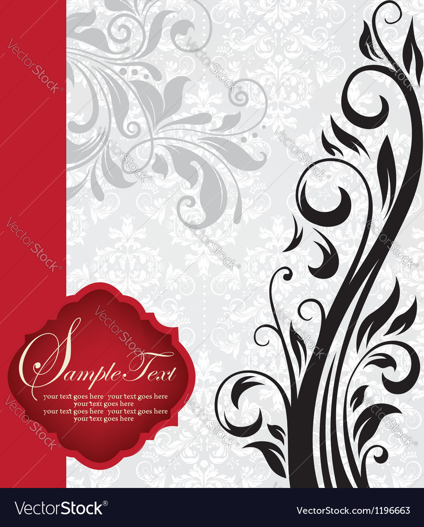 Vintage invitation card with floral background and vector | Price: 1 Credit (USD $1)