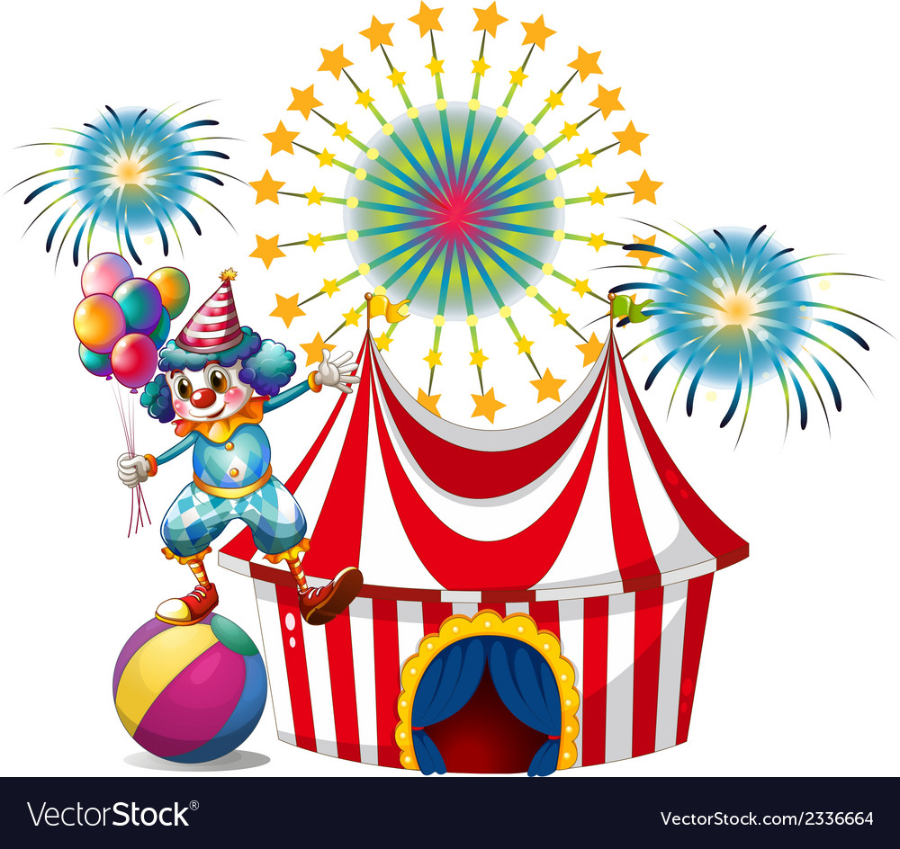A carnival with a clown holding balloons vector | Price: 3 Credit (USD $3)