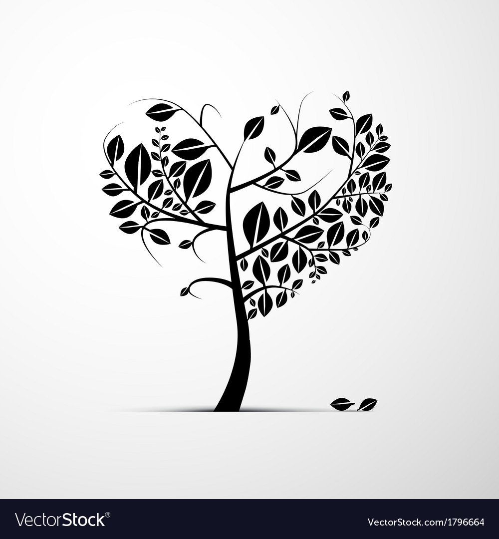 Abstract heart shaped tree on grey background vector | Price: 1 Credit (USD $1)