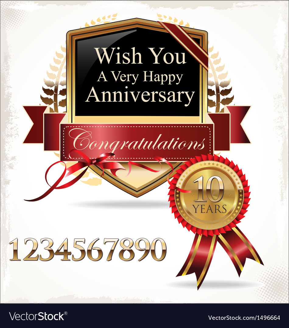 Anniversary golden label vector | Price: 3 Credit (USD $3)