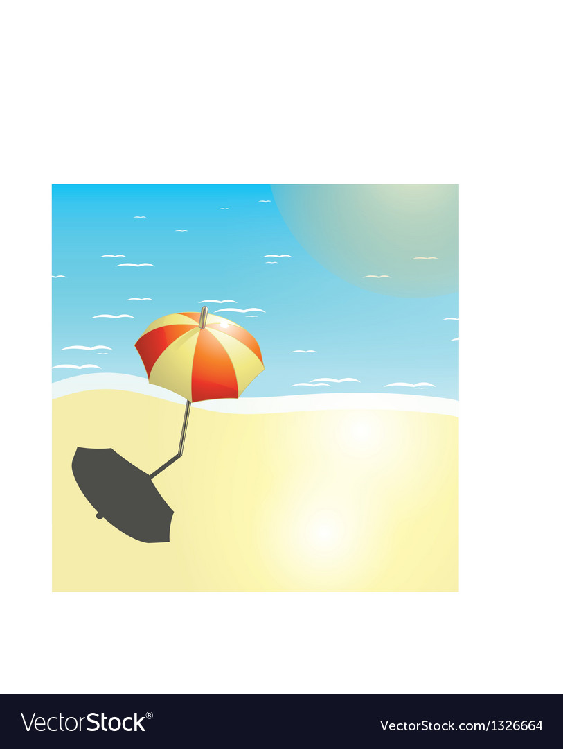 Beach and umbrella in a summer design vector | Price: 1 Credit (USD $1)