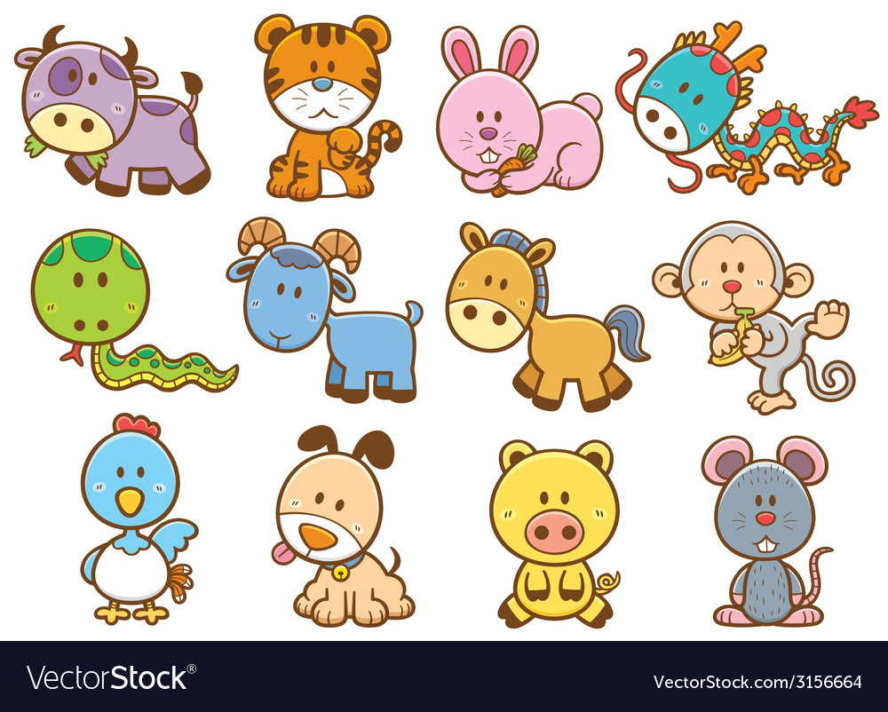 Chinese zodiac animal vector | Price: 1 Credit (USD $1)