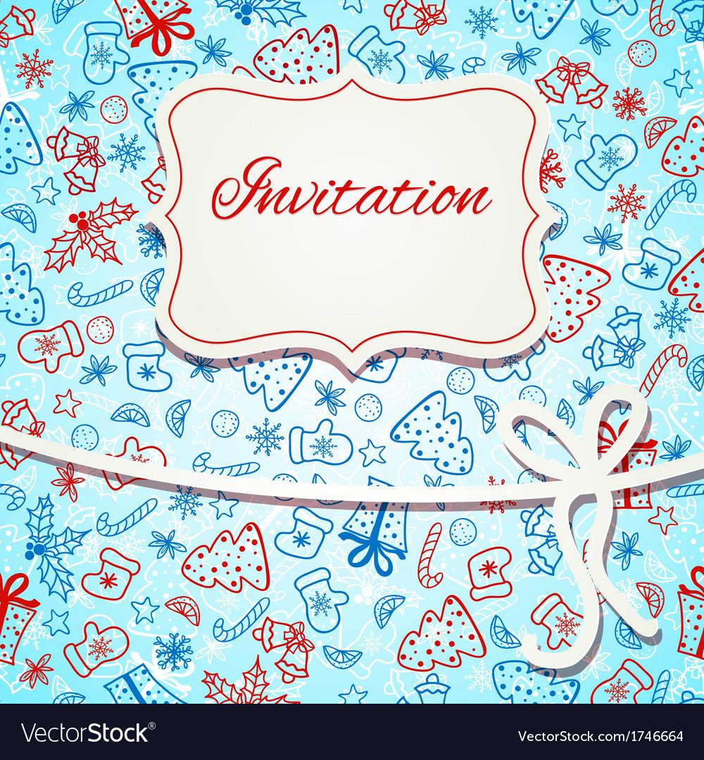 Christmas invitation card vector | Price: 1 Credit (USD $1)