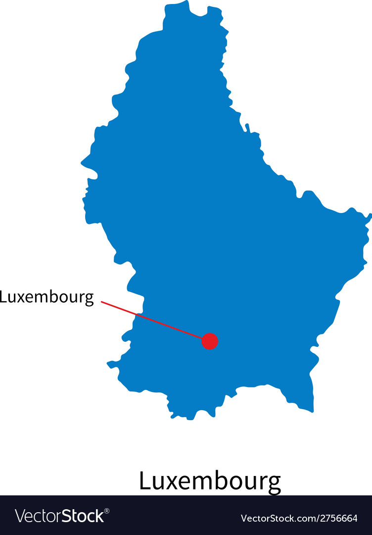 Detailed map of luxembourg and capital city vector | Price: 1 Credit (USD $1)