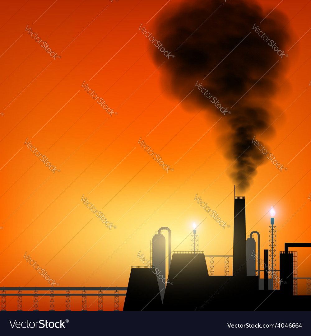 Factory with chimneys and smoke on sunset vector | Price: 1 Credit (USD $1)