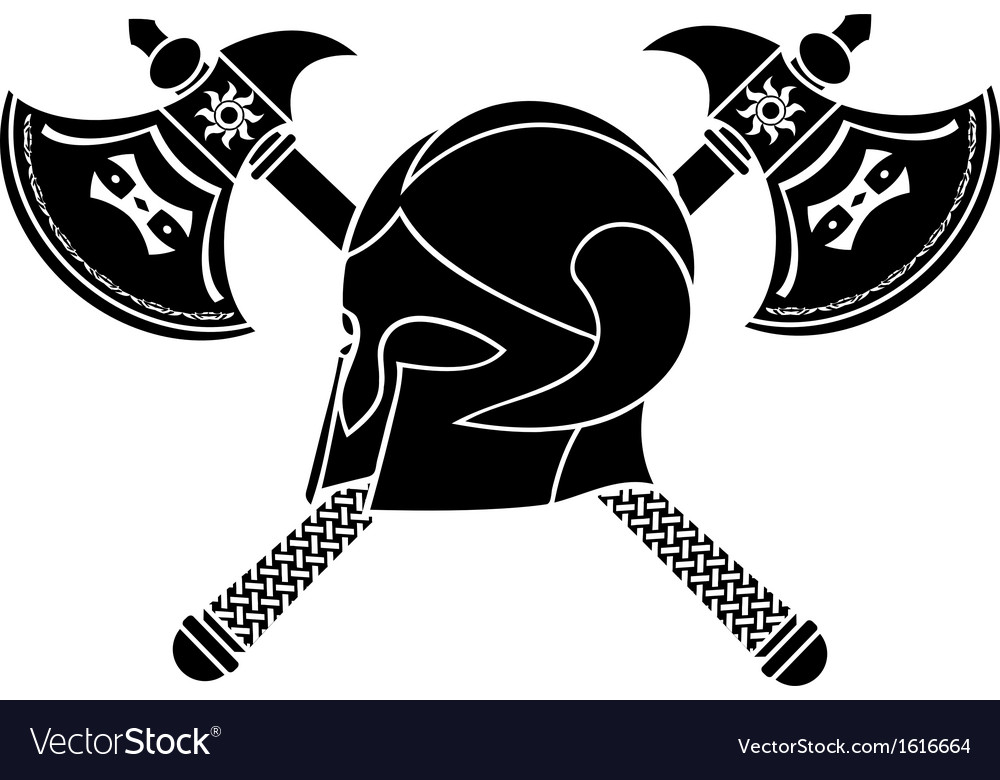 Fantasy helmet with axes stencil vector | Price: 1 Credit (USD $1)