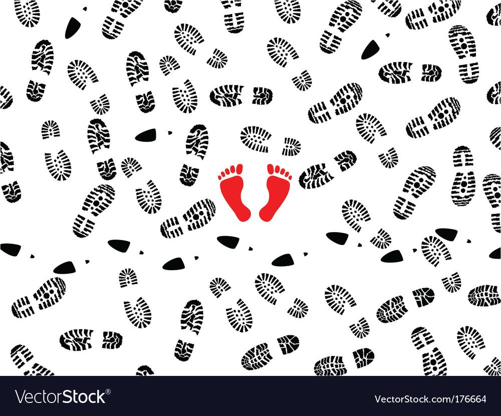 Foot prints vector | Price: 1 Credit (USD $1)