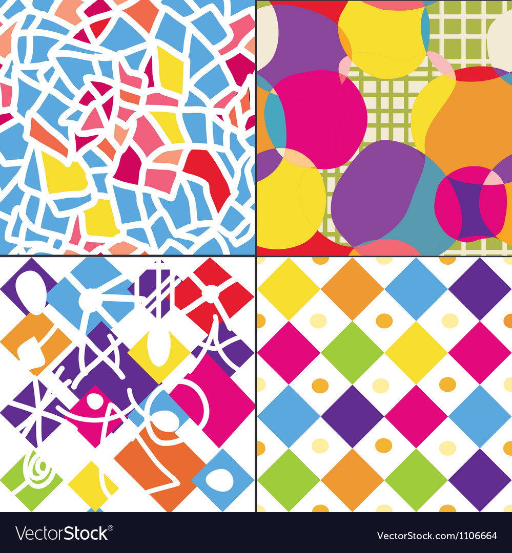 Geometric funny seamless patterns vector | Price: 1 Credit (USD $1)