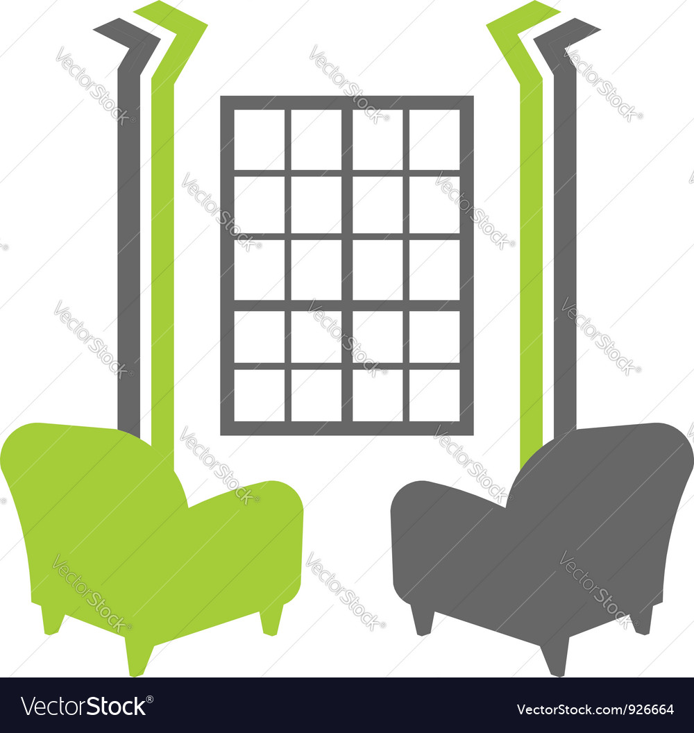 Interior window with sofas vector | Price: 1 Credit (USD $1)