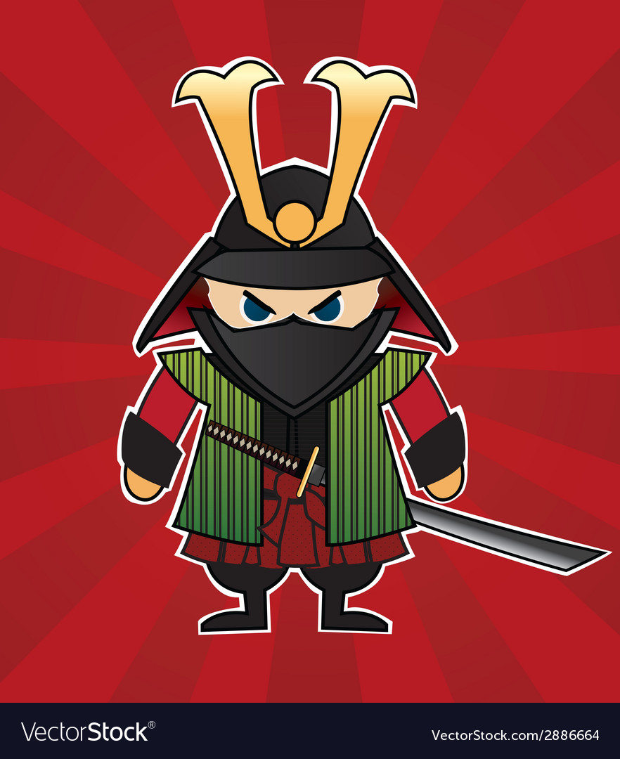 Samurai cartoon on red sunburst background vector | Price: 1 Credit (USD $1)