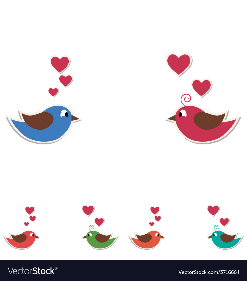 Two cute birds keep the word love isolated on vector | Price: 1 Credit (USD $1)